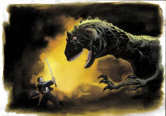 Rajz, aminek a Hősökben fontos szerepe volt, kis ember harcol a sárkány ellen