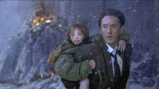 A főszereplő férfi és a lánya a világvégét nézik rémülten