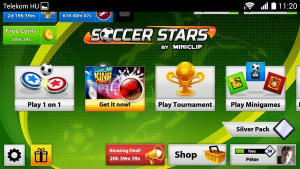 Soccer Stars nyitóképernyő